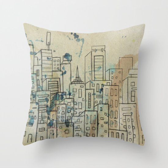 Sketch of buildings in a city that doesn't exist Throw Pillow