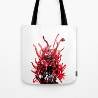 carnage Tote Bags featuring Carnage watercolor by Noel Castillo