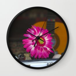 Flower in a Hippie Bus Volkswagen Microbus Samba Wall Clock