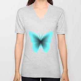 Pretty Wings of Aqua Butterfly Unisex V-Neck