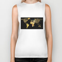 World Map Silhouette - The Kiss Gustav Klimt Biker Tank