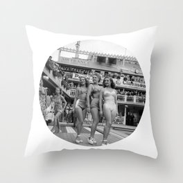 Vintage Swimsuit Models Throw Pillow