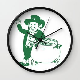 Green Leprechaun Standing by Pot of Gold Drawing Wall Clock