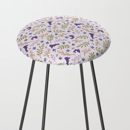 Ditsy Bunnies Amok - Purple Bunnies, Pink Background Counter Stool
