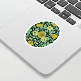 Seafoam Green, Chartreuse, Mustard Yellow & Navy Blue Floral Pattern Sticker