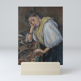 Paul Cézanne - Young Italian Woman at a Table (Jeune Italienne Accoudée) Mini Art Print