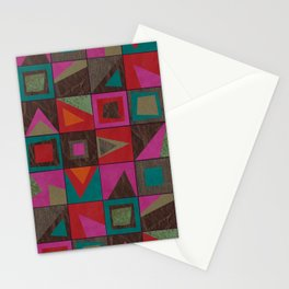 squares of colors and shreds Stationery Cards