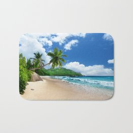Tropical Landscape at Mahé  Island, Seychelles Bath Mat