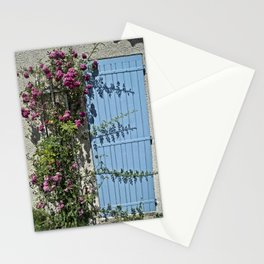 Blue door pink flowers - Provence, France Stationery Cards