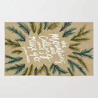the mountains are calling Area & Throw Rugs featuring Mountains Calling – Kraft by Cat Coquillette