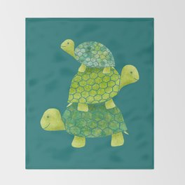 Turtle Stack Family in Teal and Lime Green Throw Blanket