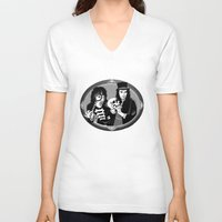 goth V-neck T-shirts featuring Goth Detectives by Jenna Karl