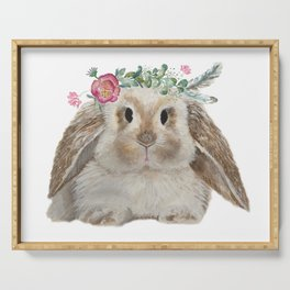 Cute Bunny with Flower Crown Serving Tray