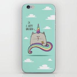 I'm happy unicorn cat iPhone Skin