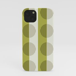 Minimalist Contemporary Lime Green Stripes & Circles - Horizons Series iPhone Case
