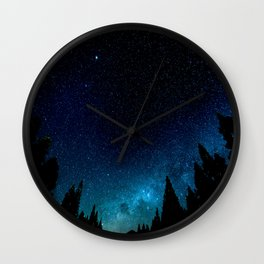 Black Trees Turquoise Milky Way Stars Wall Clock