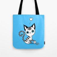kitten Tote Bags featuring Kitten by Freeminds