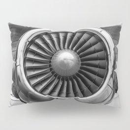 Vintage Airplane Turbine Engine Black and White Photographic Print Pillow Sham
