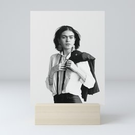 Frida Kahlo Wearing White Shirt Mini Art Print