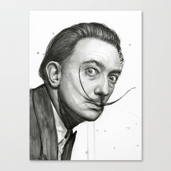 Salvador Dali Watercolor Portrait Canvas Print