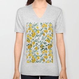 watercoor yellow lemon pattern Unisex V-Neck