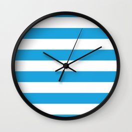 Oktoberfest Bavarian Blue and White Large Cabana Stripes Wall Clock