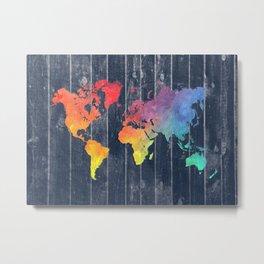 world map 97 colors blue #worldmap #map Metal Print