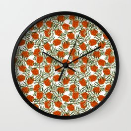 Bottlebrush Flower - White Wall Clock