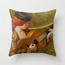 """Auguste Renoir """"Jeune Espagnole jouant de la guitare""""(Young Spanish Woman Playing a Guitar) Throw Pillow"""