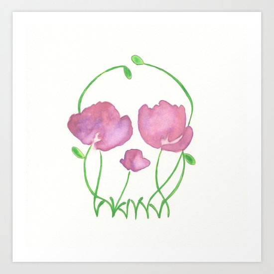 Tulip Skull Art Print
