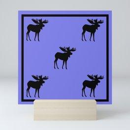 Bull Moose Silhouette on Periwinkle Mini Art Print