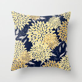 Floral Leaves and Blooms, Yellow and Navy Blue Throw Pillow