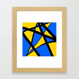 Yellow and Blue Triangles Abstract Framed Art Print