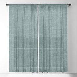 Teal Knitted Weaving Sheer Curtain
