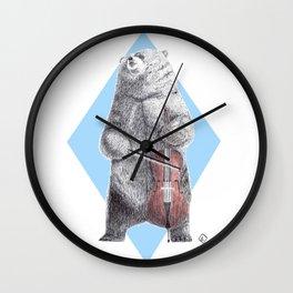Cellist bear Wall Clock