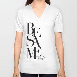 BESAME PRINT, Kiss Me Quote,Spanish Poster,Spanish Decor,Love Quote,Besame Mucho Sign,Scandinavian W Unisex V-Neck