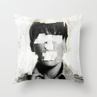 ruben Throw Pillows featuring Faceless | number 02 by FAMOUS WHEN DEAD