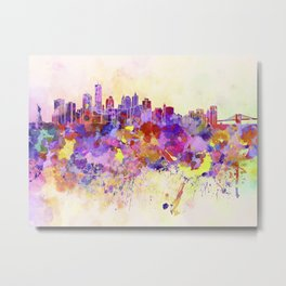 New York skyline in watercolor background Metal Print