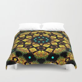 Bright Yellow Mosaic Symmetry Mandala Duvet Cover