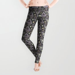 Ash gray triangles pattern, geometric artwork with colorful shapes precisely arranged Leggings