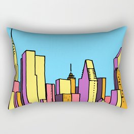 architecture art, new york city illustration, new york skyline, Rectangular Pillow