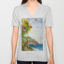 Flower of Hope -  the Ocean and the Lake Unisex V-Neck