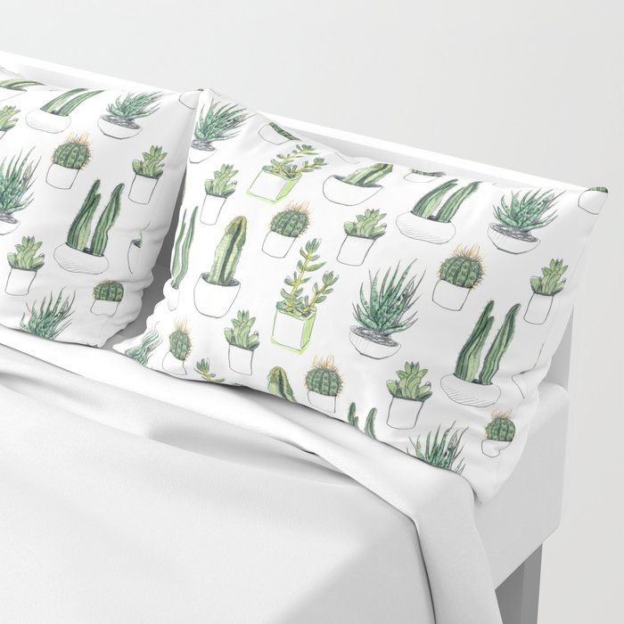 Watercolour Cacti & Succulents Pillow Sham