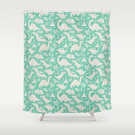 Delightful Dinos (teal) Shower Curtain