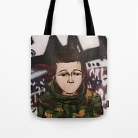 street fighter Tote Bags featuring Street fighter by Vince Beauchemin
