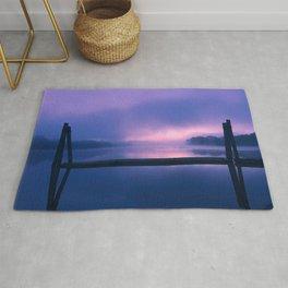 Serene Purple and Pink Waterfront Sunrise Landscape Rug