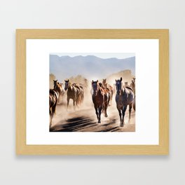 galloping horses  Framed Art Print