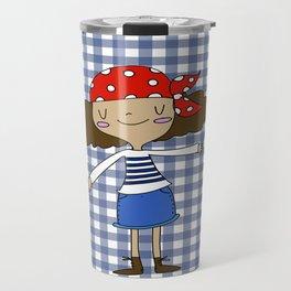 Pirate girl blue squares Travel Mug