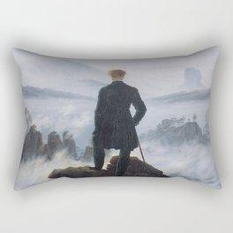 Wanderer above the Sea of Fog Painting by Caspar David Friedrich Rectangular Pillow