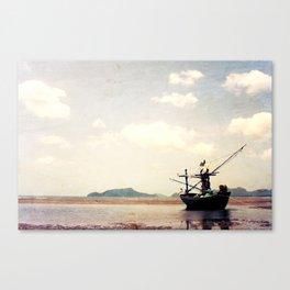 stranded fishing boat, thailand Canvas Print